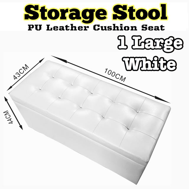 New White Large Storage Box Seat