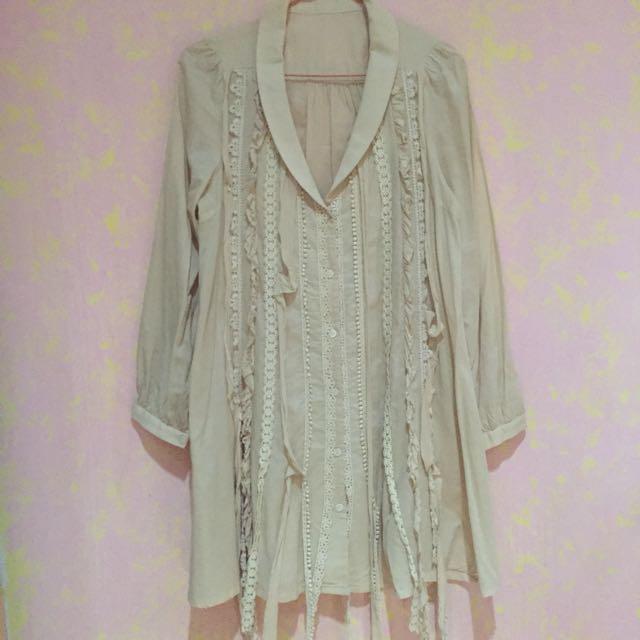 Oversized Light Brown Korean Top / Dress With Ruffles Details