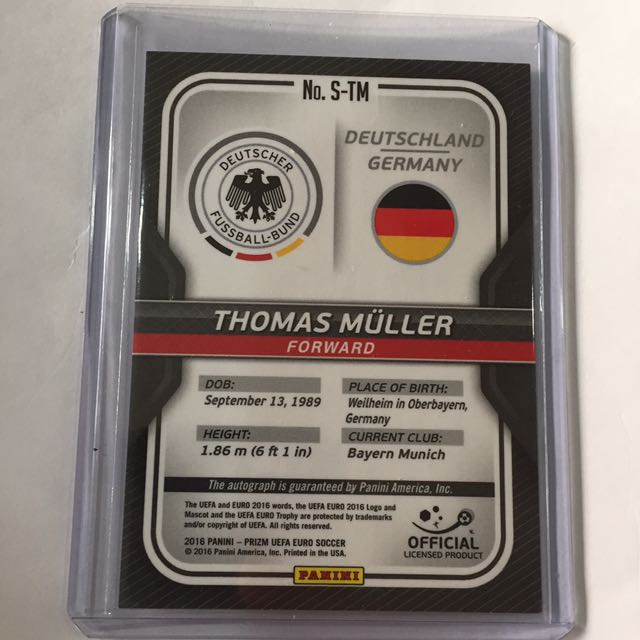3e3f16a8 PANINI 2016-17 EURO PRIZM THOMAS MULLER AUTOGRAPH, Toys & Games, Board  Games & Cards on Carousell