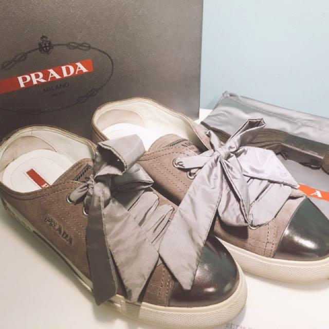 Prada 灰色緞帶厚底休閒鞋 35號