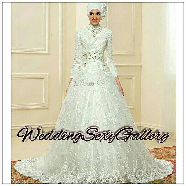 #13🌹▪Pre - Order▪🌹 Lace Ball Gown Long Sleeve Muslim Wedding Dresses Hijab 2017 Vintage Bridal Gown High Neck Islam Chapel Train Plus Size Kaftan
