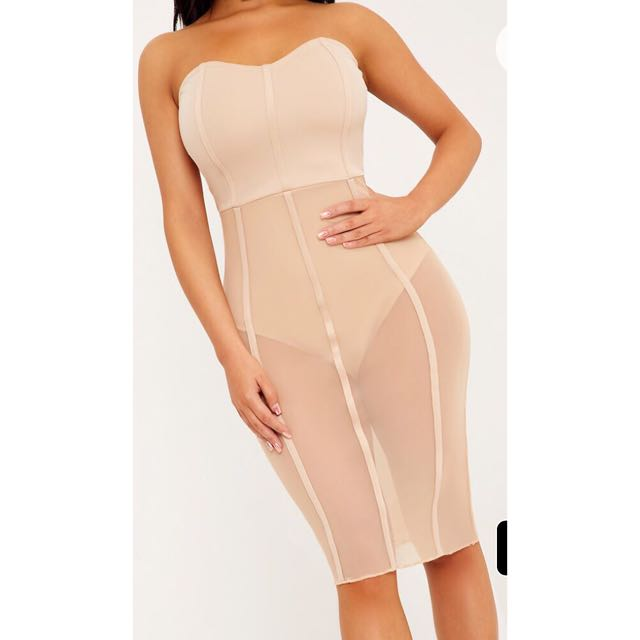 Pretty Little Thing Nude Mesh Insert Dress