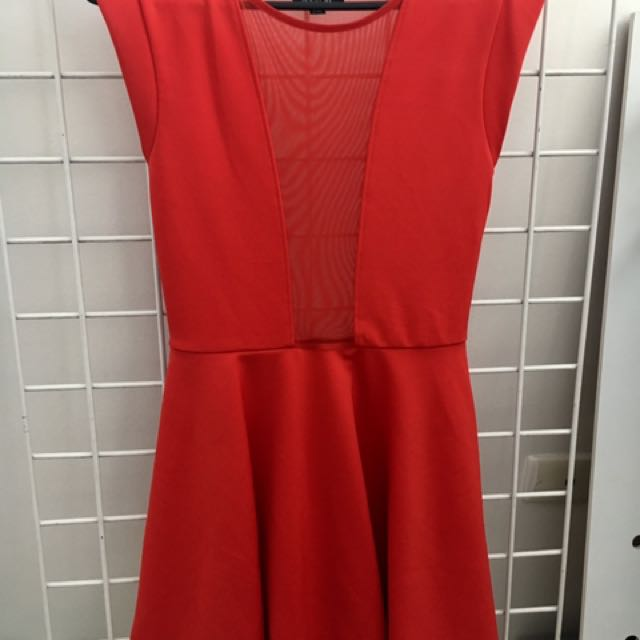 Red Dress With Sheer Mesh - Size 8