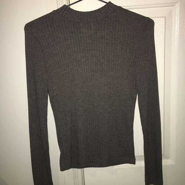 Ribbed Grey Long Sleeve
