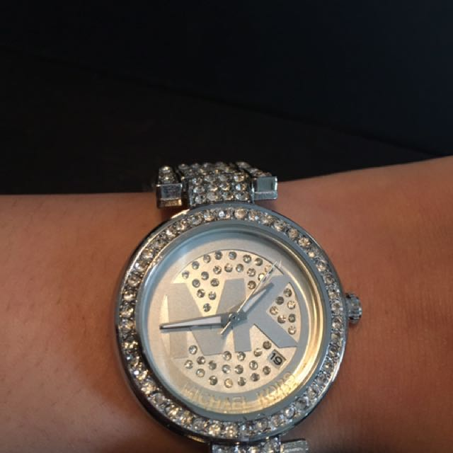 Silver And Crystal MK Watch