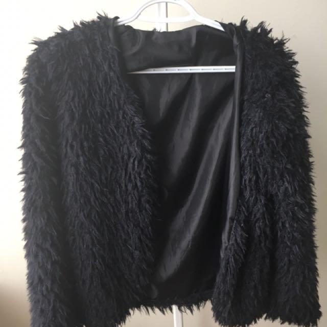 SIZE S-M BLACK FUR COAT SWEATER