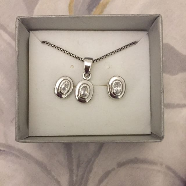 Sterling Silver 925 Necklace And Earring Set