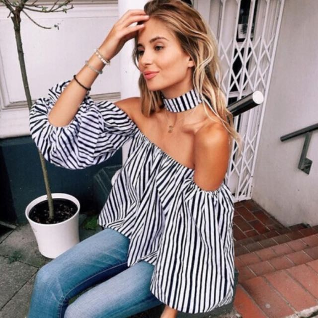 Stripped Off The Shoulder Shirt