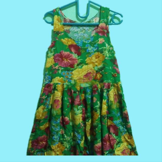 Summer Dress Floral Hijau