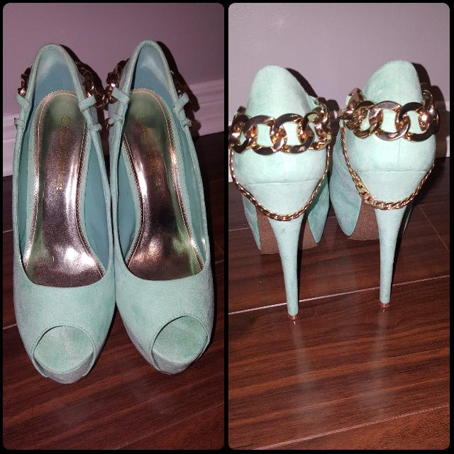"Teal 4"" Heels With Platform W Chain backing"