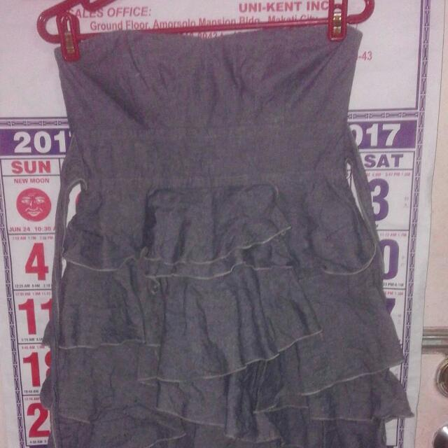 Teeze Me gray ruffled dress