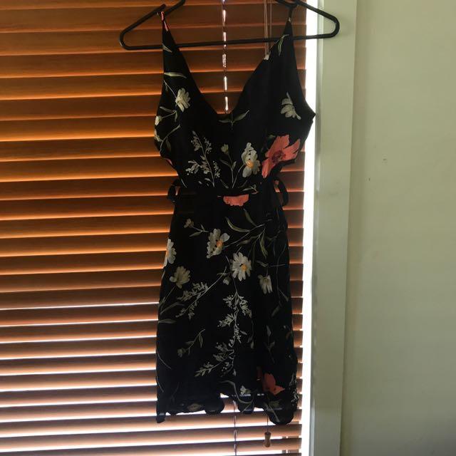 Top Shop Black Floral Mini Dress