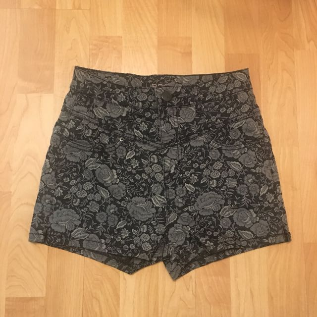 Urban Outfitter BDG High Waisted Floral Shorts In Black/Grey