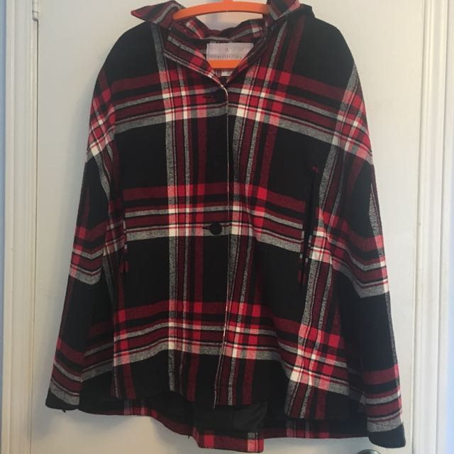 Urban Outfitters Cooperative Plaid Poncho