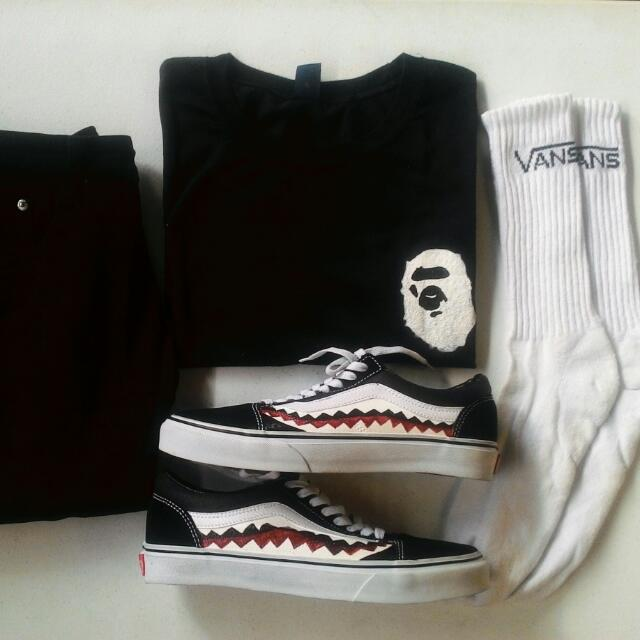 vans old skool( customized in bape ) and colaboration of bape