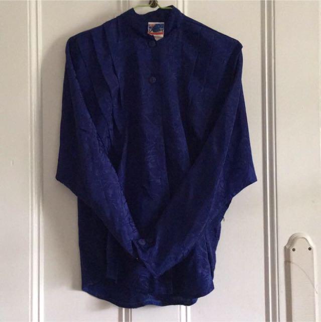 Vintage Blue Floral Satin Collarless Shirt Size 10