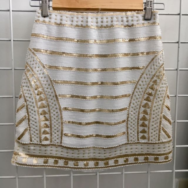 White And Gold Sequin Skirt - Size S/M