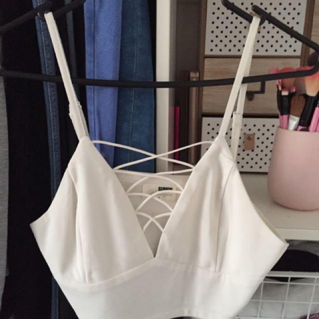 White Boob Lace Crop Top