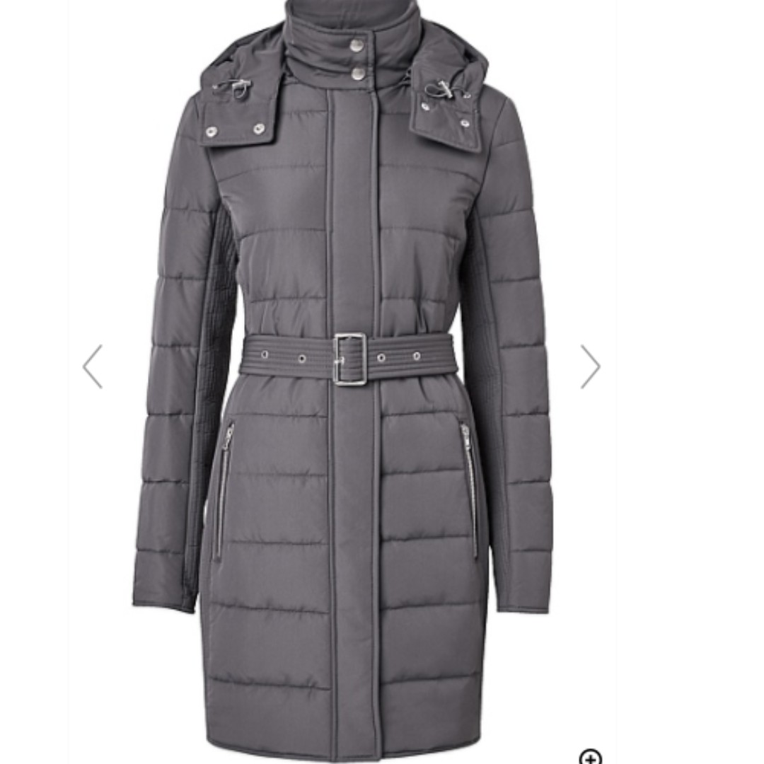 WITCHERY BLACK LONGLINE PUFFA COAT SIZE 6 IN PERFECT CONDITION
