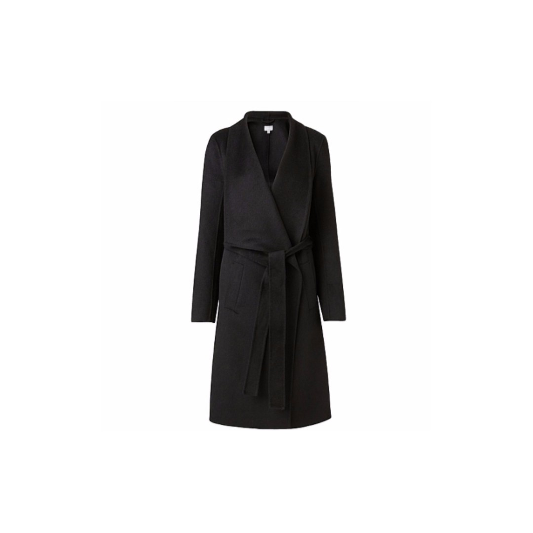 Witchery Wrap Coat in BLACK sz 10 WORN ONCE ONLY