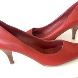 Women's Classic Red Leather Pumps Pointed Toe Shoes Size 8.5