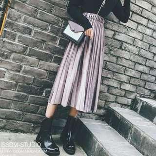 🚚 天鵝絨氣質百褶裙 長裙