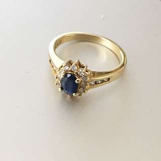 Sapphire And Diamond 10k Gold Ring Size 7