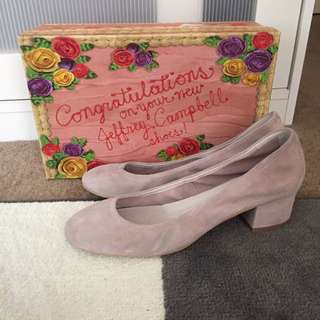 Jeffrey Campbell Shoes Heels Froarie Block Heels Taupe Suede Size 8.5