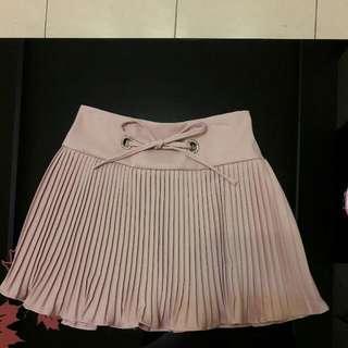 夏季百摺粉紅短裙
