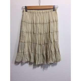日本帶回~全新現貨雪紡材質層次蛋糕裙及膝裙(米色)