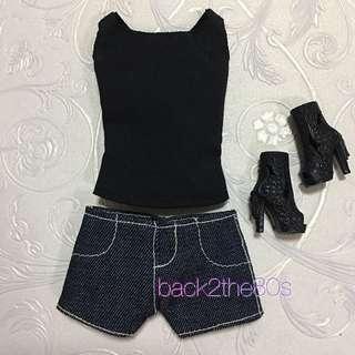 Handmade Barbie Doll Clothes - Causal Set (Black Tank Top/ Denim Shorts/ Black Peep Toe Boots)