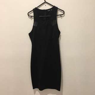 Size 12 Mesh Insert Black Dress