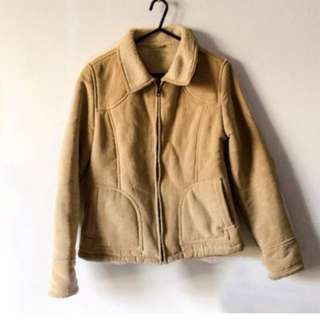 Light Brown Suede Lined Sherpa Jacket