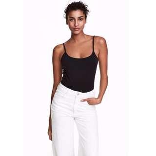 H&M 含運價$120 -細肩帶平紋背心上衣(黑色全新)吊牌未拆