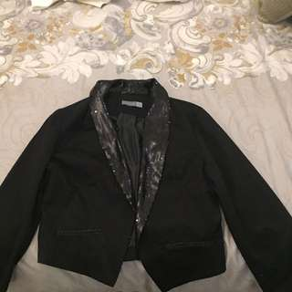 Forecast Women's 3/4 Sleeve Crop Sequin Detail Jacket Size 12