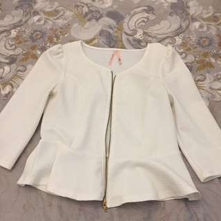 Ally 3/4 Sleeve While Peplum Jacket