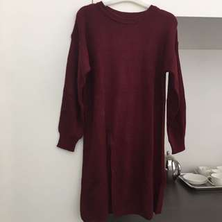 Red Slit Knitted Dress