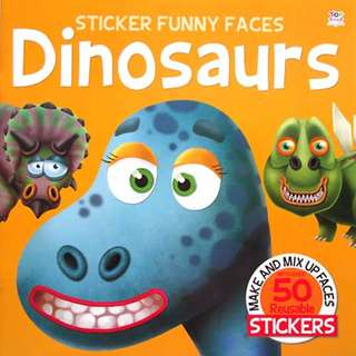 (STC-FUNFC-DINO) Sticker Funny Faces DINOSAURS - Make & Mix Up Faces with over 50 Reusable Stickers