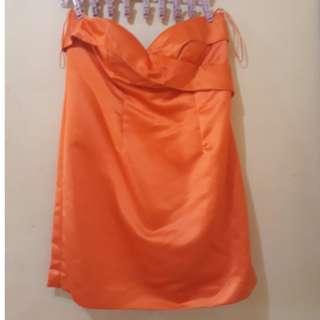 Short Orange Dress for formal occasions - Preloved