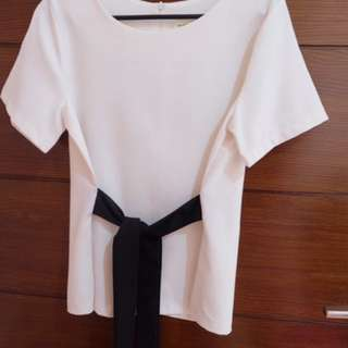 White Blouse Black Bow