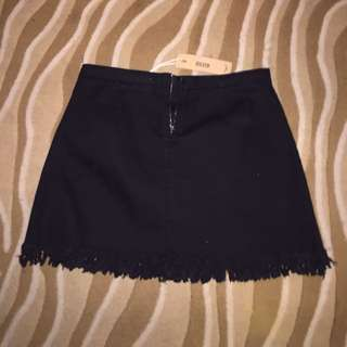 Mini Skirt Black New Unworn Size 14 12 Stretch High Waisted Zip