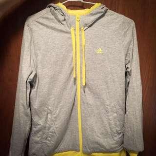 Adidas 外套 女 雙面外套 鵝黃色 灰色