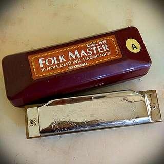 Harmonica  Kunci A Folk Master Suzuki Model 1072 10Hole Diatonik