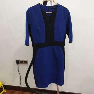 Dress V Neck Biru Hitam