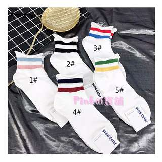 ♥Pinkの寶舖♥現貨韓國進口襪 VIVID COLOR 正品 學生襪 運動短腰條紋卷邊女棉襪 現貨 特價$42