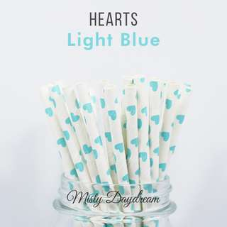25pc LIGHT BLUE HEARTS Straws