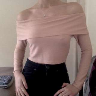 Dusty Pink Off Shoulder Long Sleeve Top