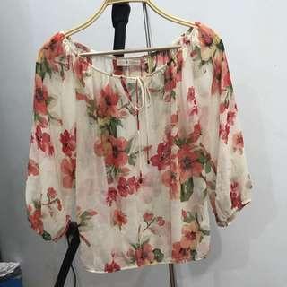 Baju Transparan Motif Floral