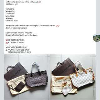 LV Neverfull Brown And White With Pouch 💝