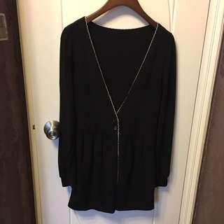 黑色薄冷衫外套